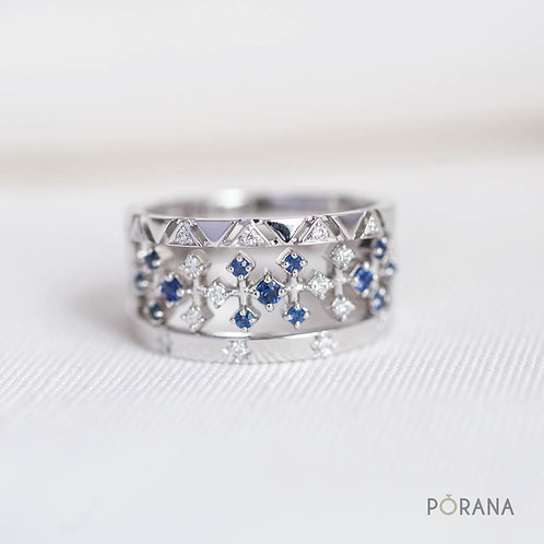 PA SINH | 3 Stacking Blue Sapphire & Diamond rings