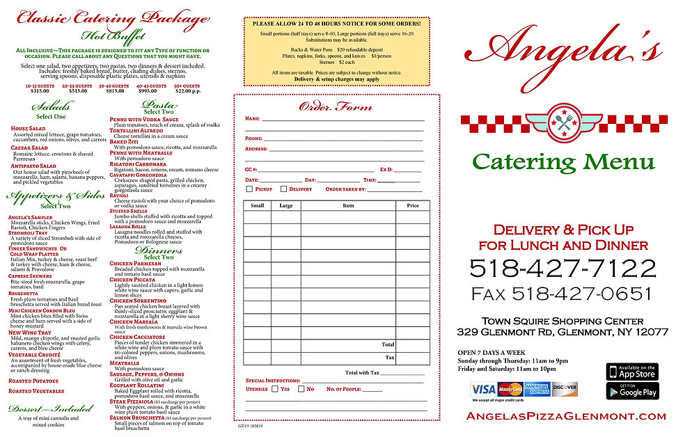 Angelas Pizza Catering Menu