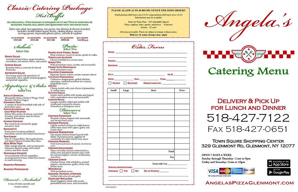 Angelas Pizza Glenmont Catering Menu
