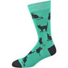 Mens Black Cat Bamboo Socks 7-11