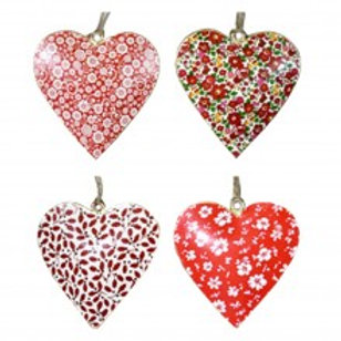 Metal Heart Ornaments - Red