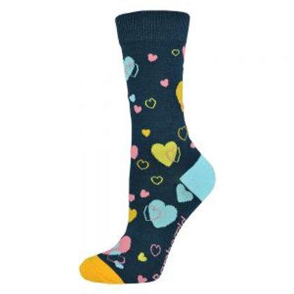 Ladies Love Hearts Bamboo Socks 2-8