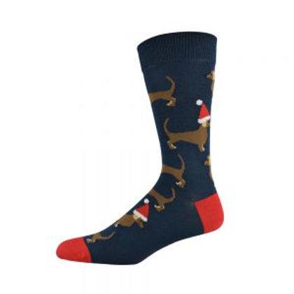 Mens Christmas Dachshund Bamboo Socks 7-11