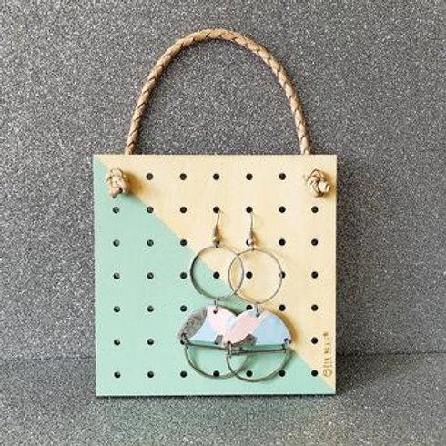 Mini Wood Hanging Earring Holder - Green