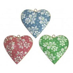 Metal Heart Ornaments - Floral