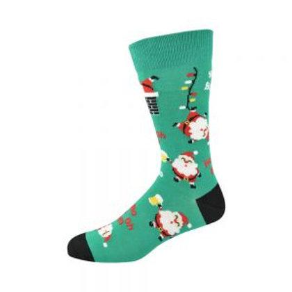 Mens Happy Santa Bamboo Socks 7-11