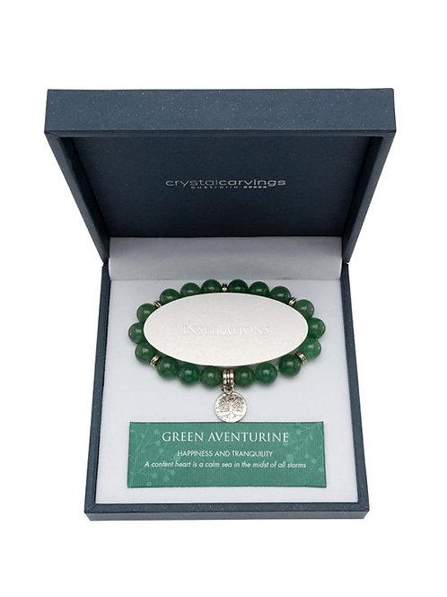 Crystal Carvings Tree of Life Charm Bracelet - Green Aventurine