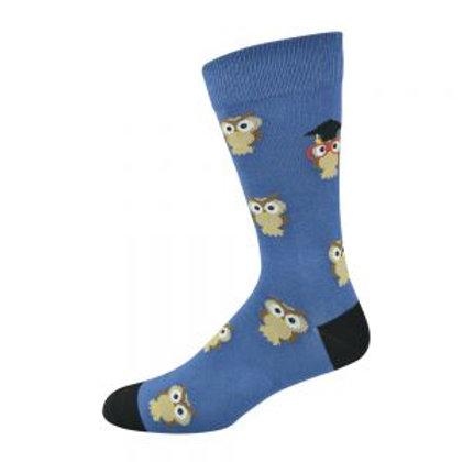 Mens Scholar Owl Bamboo Socks 7-11