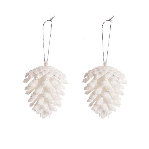 Hanging Pinecone - White