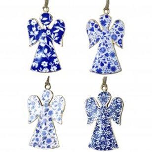 Metal Angel Ornaments - Blue