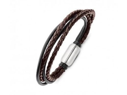 Mens Stainless Steel + Leather Bracelet