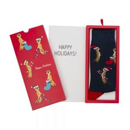 Mens Xmas Meerkat Bamboo Sock Card 7-11