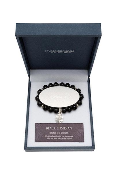 Crystal Carvings Tree of Life Charm Bracelet - Black Obsidian