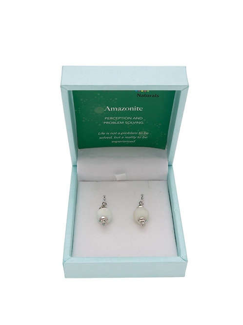 Crystal Carvings Drop Earrings - Amazonite