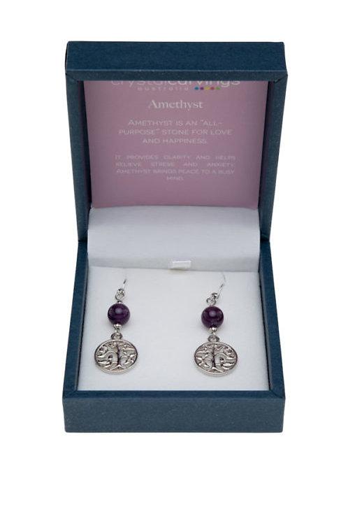 Crystal Carvings Tree of Life Earrings - Amethyst