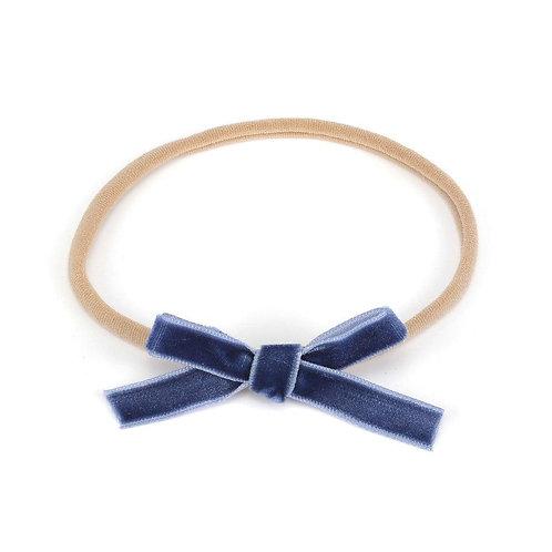 CLEARANCE Petite Velvet Baby Bow - Blue