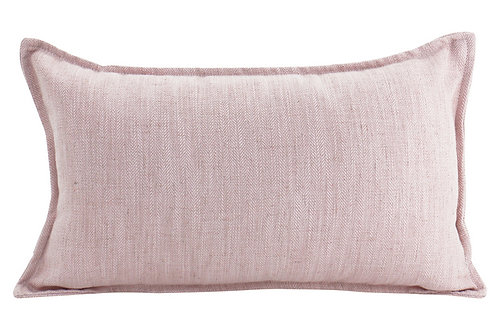 Oblong Linen Cushion - Baby Pink