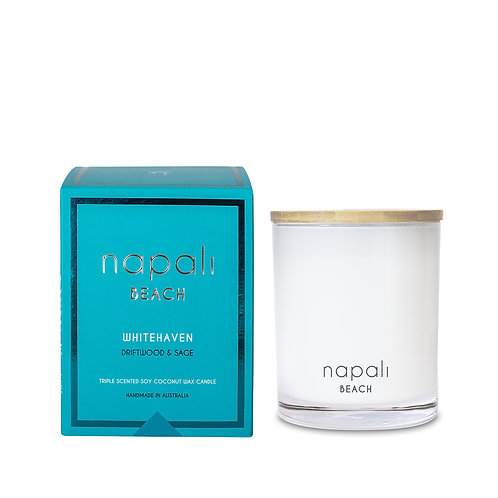 Napali Candle 160g - Whitehaven - Driftwod and Sage