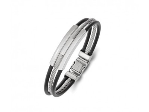 Mens Stainless Steel + Leather Bracelet