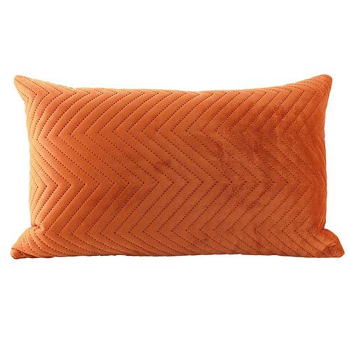 Velvet Oblong Quilted Cushion - Orange