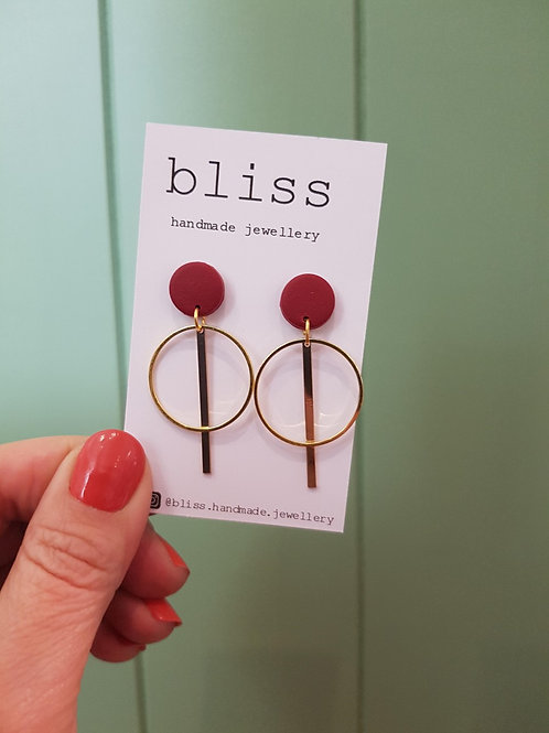 Bliss Drop Dangles - Gold & Plum