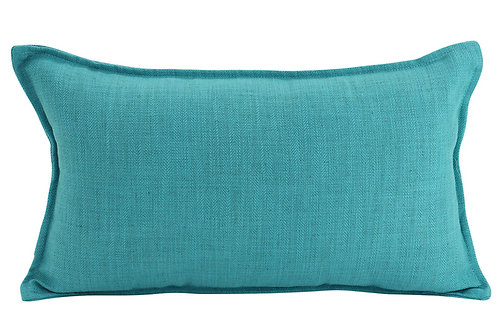 Oblong Linen Cushion - Turquoise