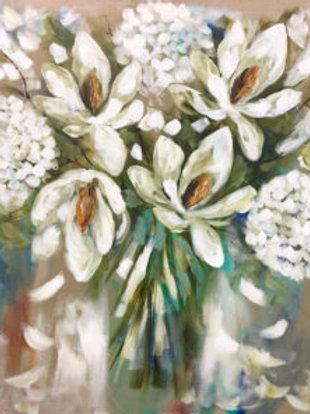 Thirsty Stone Coaster - White Hydrangea