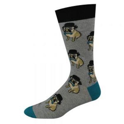 CLEARANCE Mens Hipster Pug Bamboo Socks 7-11