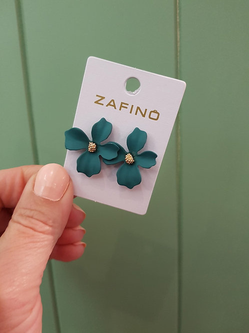 Small Orchid Earrings - Emerald