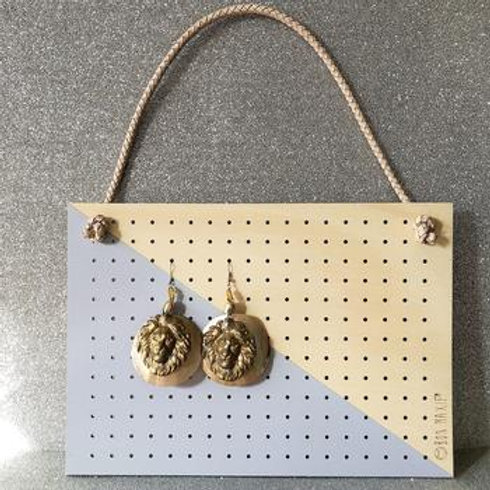 Mid Wood Hanging Earring Holder - Grey