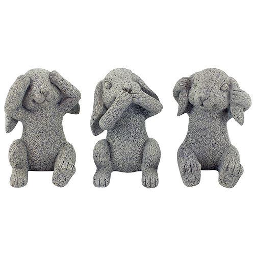 Set Hear/See/Speak Evil Miniature Bunnies