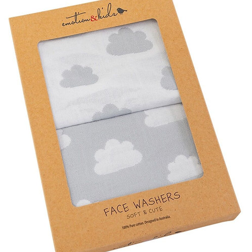 Face Washers - Grey Clouds