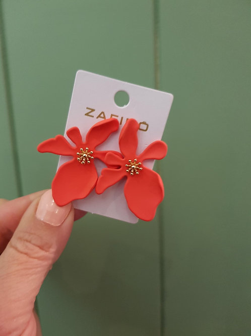 CLEARANCE Large Orchid Earrings - Coral