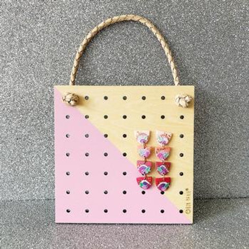 Mini Wood Hanging Earring Holder - Pink