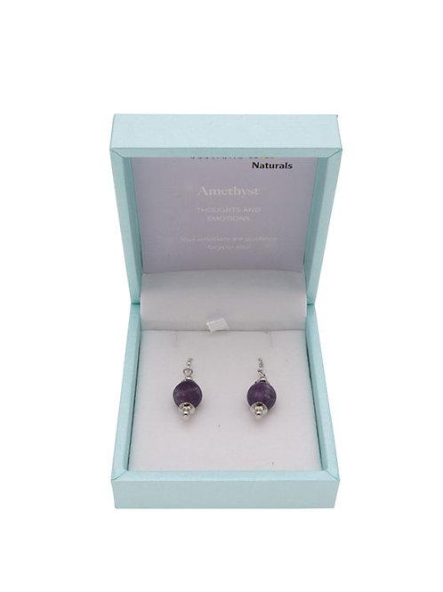 Crystal Carvings Drop Earrings - Amethyst