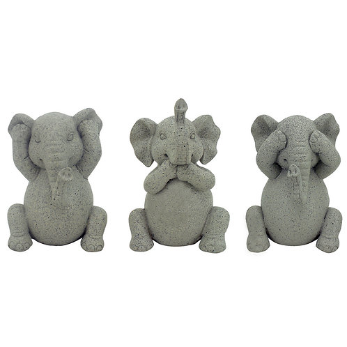 Set Hear/See/Speak Evil Miniature Elephants