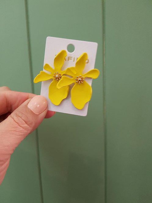 CLEARANCE Large Orchid Earrings - Yellow