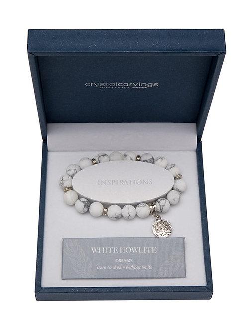 Crystal Carvings Tree of Life Charm Bracelet - White Howlite