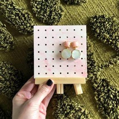 Mini Wood Earring Stand - Pink Marble