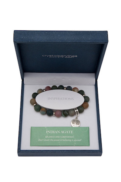 Crystal Carvings Tree of Life Charm Bracelet - Indian Agate