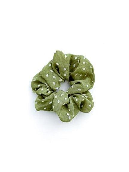 Scrunchie - Olive Green Polka Dot