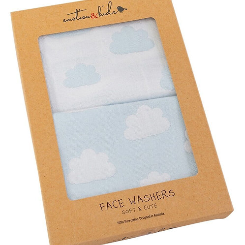 Face Washers - Blue Clouds