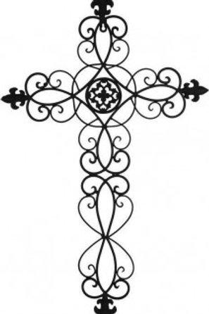 Metal Emblem Cross Wall Hanging 45 x 72