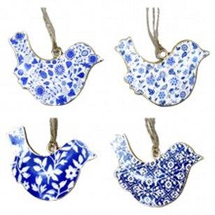 Metal Bird Ornaments - Blue