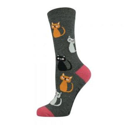 Ladies Kitty Cat Bamboo Socks 2-8