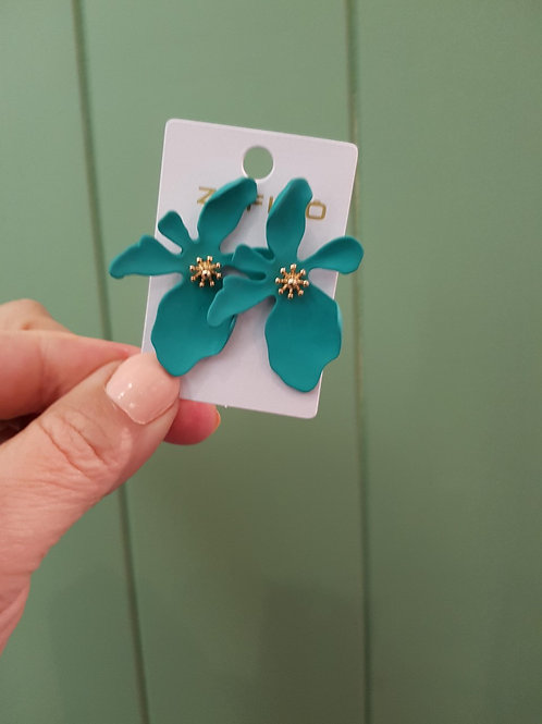 CLEARANCE Large Orchid Earrings - Green