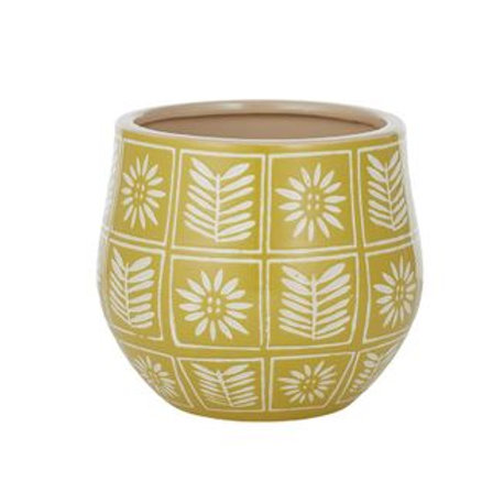 Zinnia Ceramic Pot - Mustard