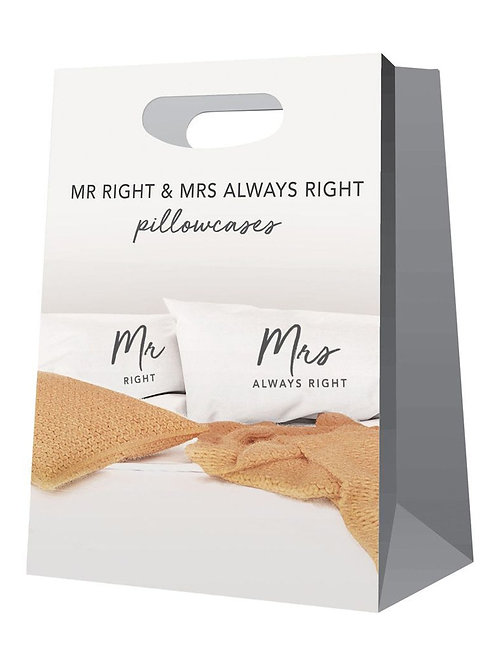 CLEARANCE Pillowcases - Mr Right & Mrs Always Right