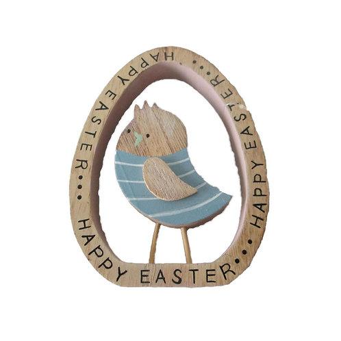Happy Easter Wooden Egg