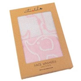 Face Washers - Pink Giraffe & Elephant